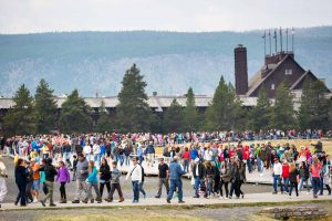 Crowds at Old Faithful in Yellowstone National Park. (NPS, Neal Herbert)