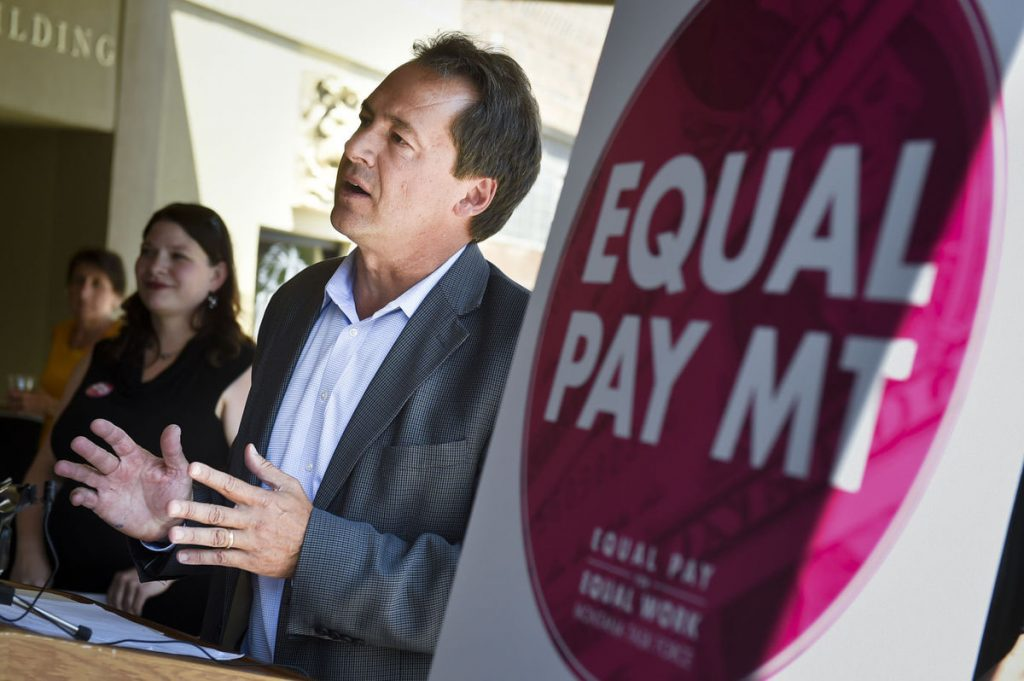 Gov. Steve Bullock, along with the Equal Pay for Equal Work Task Force, announce the 'Equal Pay Pledge' in 2016 to close the gender pay gap in Montana. (Thom Bridge, Independent Record)