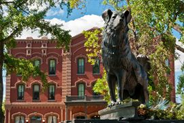 A statue of Shep the dog stands on Front Street near the Grand Union Hotel in Fort Benton. (Greg Vaughn)