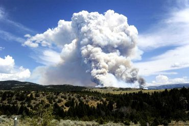 The smoke column from the Cabin Gulch Fire on the Helena National Forest in 2015. (Thom Bridge, Independent Record)