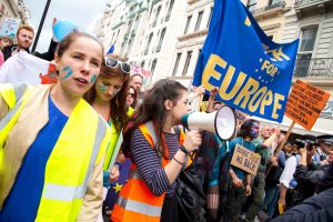 Demonstrators march against Brexit during the March for Europe rally in London in 2016. (Michael Puche)