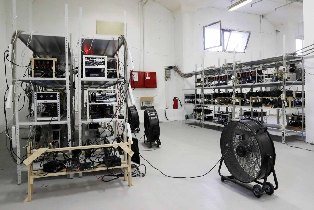 Hardware at the SberBit cryptocurrency mining facility in Moscow, Russia. (Vyacheslav Prokofyev/TASS)