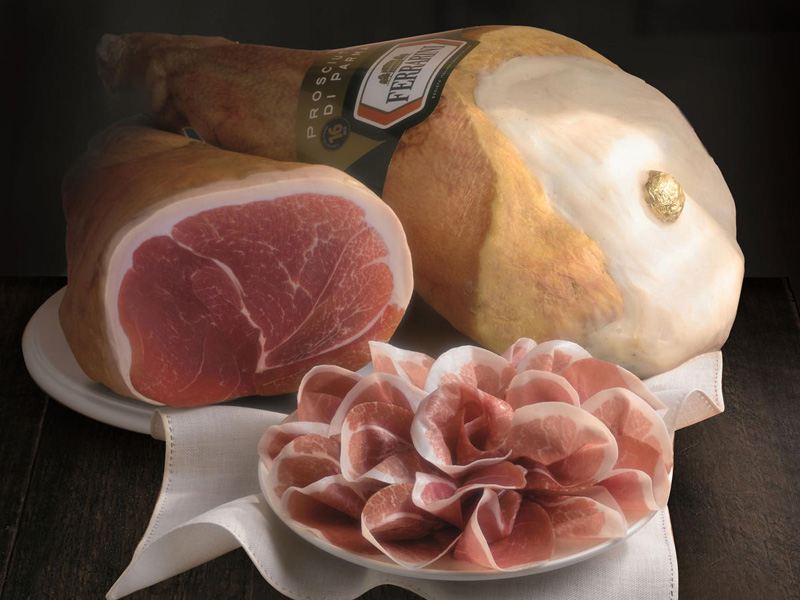 Ferrarini cured ham uses Italian pig meat and is marked with the Protected Designation of Origin seal.