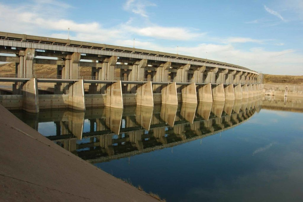 The Fort Peck Dam spillway on the Missouri River in northeast Montana. (AP Photo, Matt Brown)