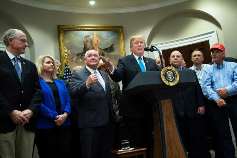 President Donald Trump delivers remarks on supporting American farmers and tariffs in the Roosevelt Room at the White House. (AP Photo, Kevin Dietsch)