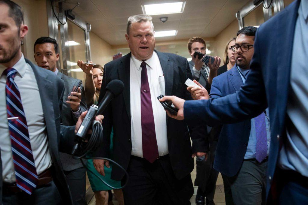 Sen. Jon Tester, D-Mont., responds to reporters' questions on Supreme Court nominee Brett Kavanaugh on Capitol Hill in Washington, D.C., in 2018. (AP Photo, Rachel Leathe)