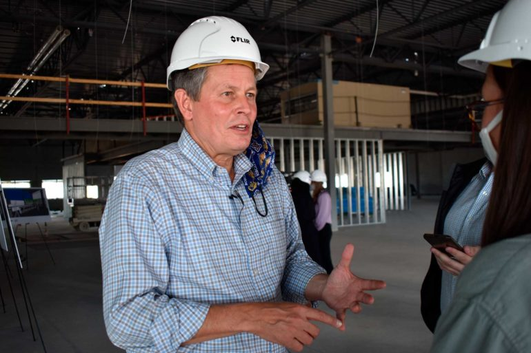U.S. Sen. Steve Daines speaks at a manufacturing facility under construction in Bozeman. (AP Photo, Matthew Brown)